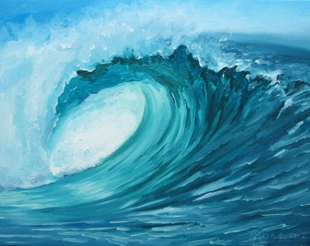 "GICLEE reproduction on 8 1/2 x 11"" fine art PAPER - Curling Wave series 1 (wave, barrel, tube)"