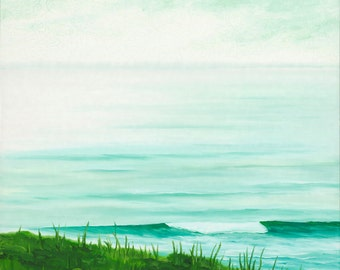 GICLEE Fine Art Reproduction on 8.5x11 PAPER - Emerald Mist by Daina Scarola (foggy morning, seascape, surf art, Nova Scotia, left point)