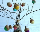 10 Hanging Acorns for the Christmas Tree - Felted Christmas Ornaments - Acorn Decorations.