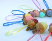 SALE - Pastel Acorn Decorations - Wool Ornaments - Set of 10 Hanging Felted Acorns.