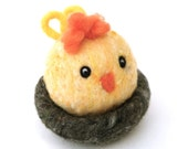 Easter Chick in her nest, yellow chicken toy children soft sculpture needle felted cute farm farmyard country