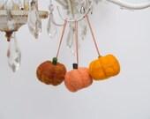 Needle Felted Pumpkin Ornaments, 3 Orange Harvest Felt Wool Fall Autumn Home Decor whimsical thanksgiving halloween handmade party favors