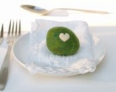 Pebble Napkin Weights, Woodland Green Dinning Napkin Rings, Wool Needle Felted home decor, Al Fresco Outdoor entertaining dining love heart