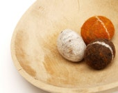 Natural Felted Stones, neutral browns, rust and grays, 3 pebbble rock wool home decor colorful Christmas dude hostess gift toy urban chic