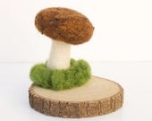 Mushroom Christmas Gift Needle Felted Wool Sculpture Brown nature inspired Wood Grain unique home decor dude dad men Stocking Stuffer
