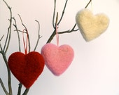 Felted Heart Ornaments, Christmas Decorating Needle Felt Wool Love romantic gift home decor Red Pink 3