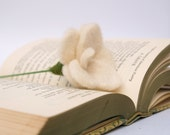 Whtie Rose Flower, Valentines Day Gift Wool Felted Felt 1 Naural Gift Love Book Handmade Home Decorating cream natural neutral hues