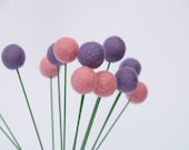 Shabby Chic Home Decor Felt Flowers, Wool Craspedia Billy Button Flower Ball Pom Pom purple pink lavender Gift decorating for her