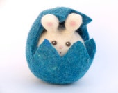 Needle Felted Bunny in a Blue Easter Egg . Needle Felt Wool toy for Boys and girls - Waldorf toy - Fairyfolk - The Magic Onions