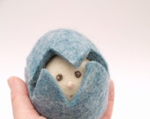 Blue Easter Toy . Easter Egg . Needle Felted Wool . Waldorf