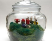 Terrarium - Mossy Gnome Home - Needle Felted.