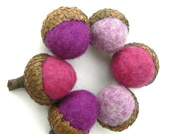 Purple Felted Acorns, 6 Wool Acorns, Christmas Gift, office worker, Stocking Stuffer, lavender, lilac