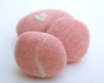 Felted Stones, pebbbles rocks wool felt home decor natural love heart colorful housewares baby shower favor hostess gift blushing pink 3
