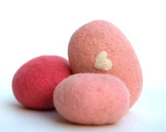Felted Rocks, colorful handmade all natural wool felt home decor love heart housewares shabby chic stone pebble hostess gift fuschia pink 6