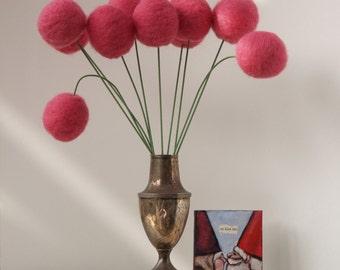 Wool Pom Pom Flower Arrangement, Large Needle Felted Craspedia Billy Buttons, Fuchsia Pink - 10