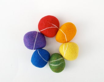 Rainbow Felted Stones, pebbbles rocks wool felt home decor natural dude Christms gift toy urban chic Stocking Stuffer
