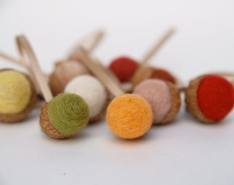 Felted Acorn Ornaments in rustic shades of Autumn, Fall and Thanksgiving. Natural - 10