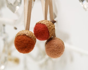 Autumn Felted Acorn Ornaments in shades of Fall - brown, red, rustic home decor . 9