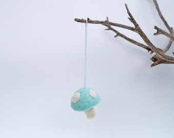 Pastel Blue Easter Ornament, ONE Wool Felt Mushroom Decoration Woodland needle Waldorf Toadstool Baby Easter Home Decor boy decorating