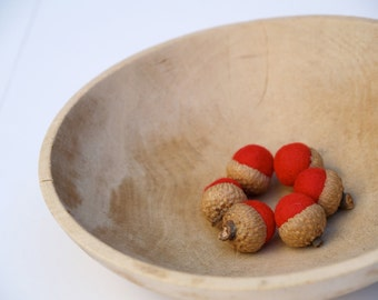 Red Felt Acorns, Needle Felted Gifts, Rustic Woodland Home Decor, Nature Inspired, Natural, Eco Friendly - 6 - Valentine's Day