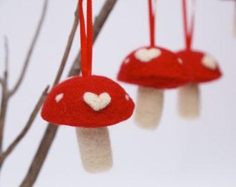 Holiday Ornament Toadstools, RED Love mushrooms decoration woodland Needle Felted Felt handmade Fairyfolk - 3