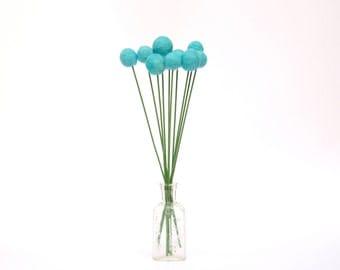 Robin Egg Blue Felt Flowers, Shabby Chic Home Decor Craspedia Wool Billy Button Flower Ball Pom Pom turquoise aqua decorating for her
