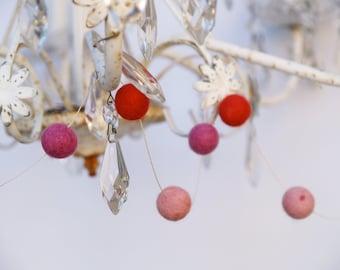 Holiday Garland Felt, Decorating needle felted Pink Fuschia Red alice in wonderland entertaining banner heart chandelier
