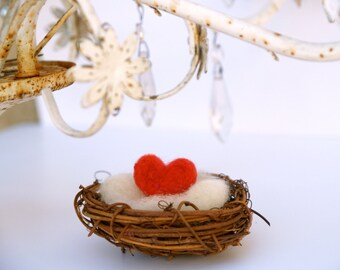 Love Heart Nest, Spring Decorating HOme Decor, Needle Felted Felt Heart, Nature RED - Mother's Day Gift