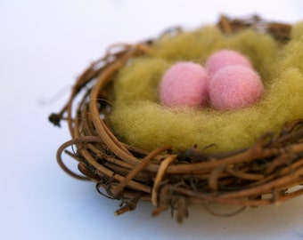 Needle Felted Nest, Pastel Pink Decoration, Wool Eggs, Baby Shower Favor, Nursery Home Decor, Waldorf Nature Table, Woodland, Whimsical