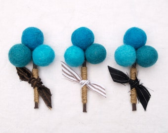 Groomsman Wedding Boutonniere Groom Groomsmen Turquoise Robin Egg Blue Craspedia billy button ball flower felt beach Spring Summer fun 3