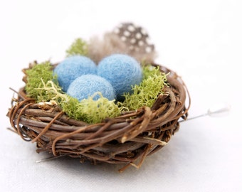 Nest Wedding Boutonniere Groomsman, Groom Bestman men turquoise blue robin egg Rustic Woodland Earthy Flowers Dude Guineafowl Lapel Pin
