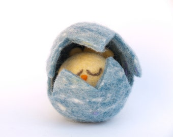 Blue Chick and Egg Toy - the sweetest little Yellow Chick Hiding Inside . Needle Felted Waldorf Toy