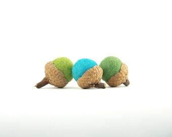 Felt Acorns, Home Living Decor Modern Minimal, Earthy Needle Felted, Moss green and Turquoise Blue Stocking Stuffer 9