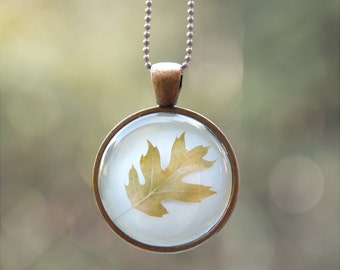 Wearable Art Necklace - Autumn Leaf Photo Pendant for Woodland Lovers - Magical Nature Jewelry, Christmas Gift