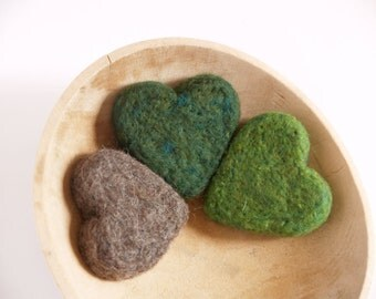 Large Needle Felted Hearts, Three Woodland Green Felt Hearts, Home Decor