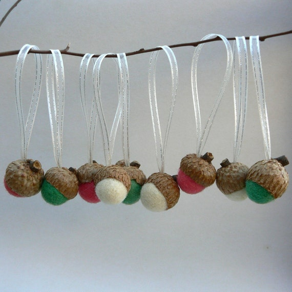 Acorn Ornaments - Candy Cane - Christmas Tree Decorations - Set of 12 Hanging Felted Acorn.