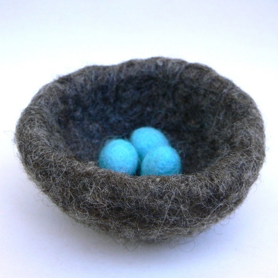 Needle Felted Nest, Robins Egg Blue, Easter Gift for the Nature Lover, hostess Spring Decorating, baby shower Gift