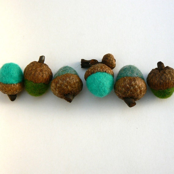 Six Woodland Felted Acorns - Waldorf Inspired - Earth Day Sale