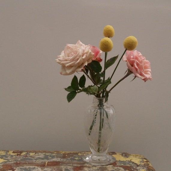 Wool Craspedia Flowers, yellow felt Billy Button Ball Autumn Fall home decor housewarming gift floral arrangement wedding bouquet