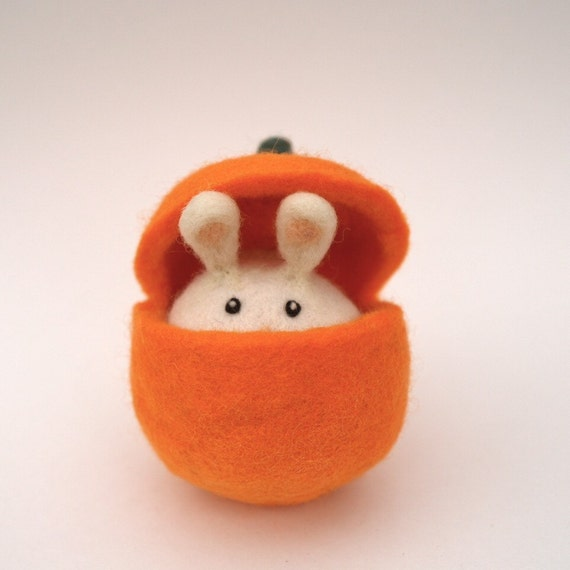 Pumpkin Bunny Toy, Needle Felted Waldorf Halloween, Fall or Thanksgiving Toy, Orange