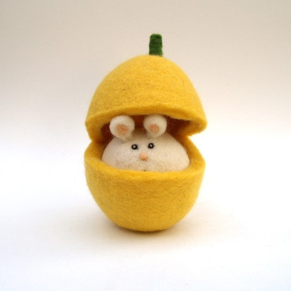Butternut Mouse - Needle Felted Toy.