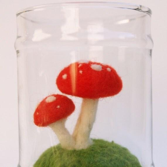Toadstool Terrarium - Needle Felted Wool - Waldorf Inspired.