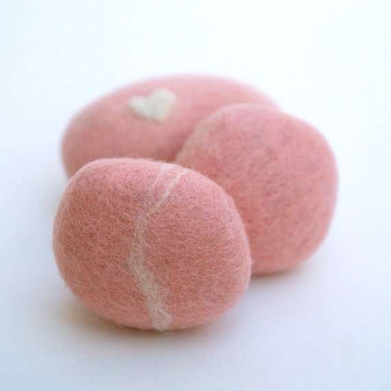 Items similar to felted stones pebbbles rocks wool felt for Felted wool boulders