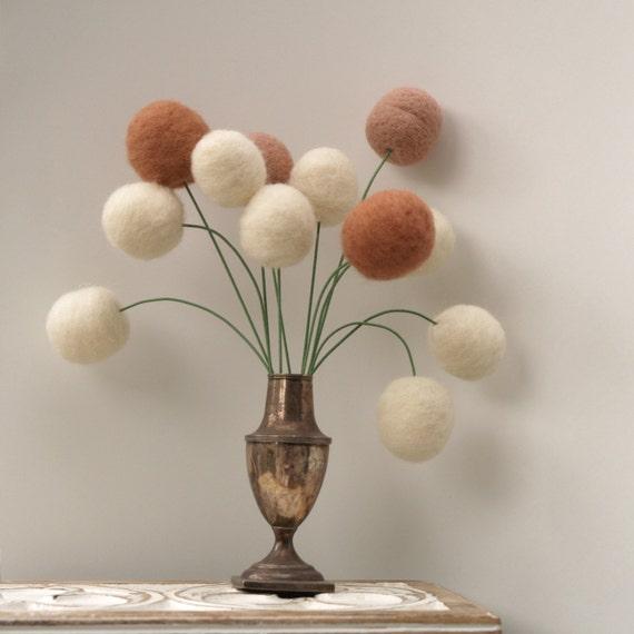 Wool Flowers, felt Craspedia Billy Button Ball rustic wedding woodland home decor neutral colors handmade housewarming gift large