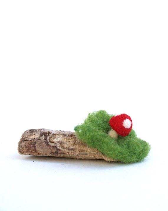Driftwood Toadstool Display, needle felted woodland moss on genuine driftwood, unique and nature inspired home decor