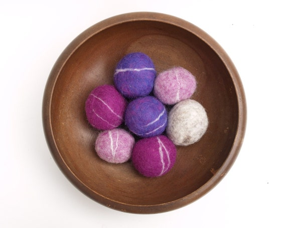 Lavender, Lilac and Purple Felted Rocks, pebbles stones wool home decor beach cottage covered hostess gift baby shower wedding favor