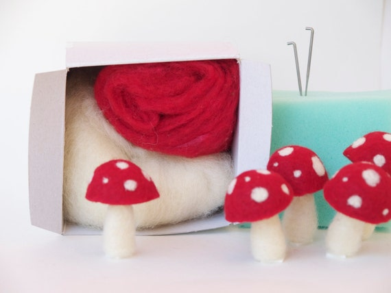 image diy needle felting kit toadstool mushroom tutorial