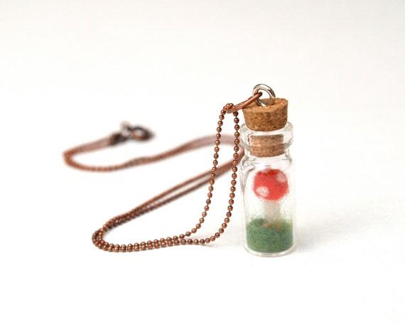 Toadstool Terrarium Necklace, wool felt pendant jewelry whimsical woodland red moss flower girl bridesmaid wedding miniature Christmas Gift