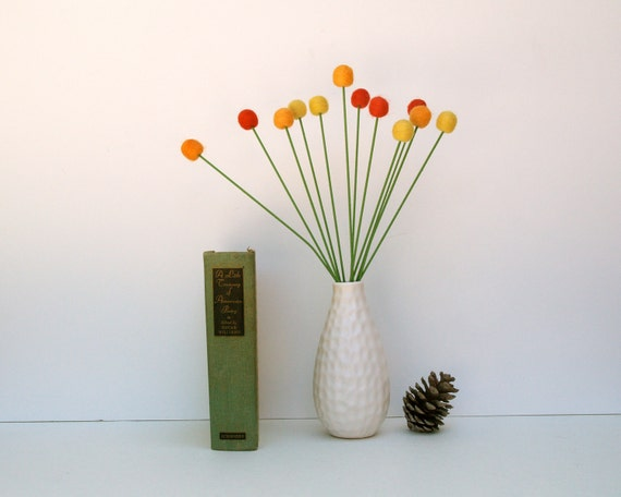 Autumn Home Decor, wool billy ball button flowers craspedia blooms red yellow orange Fall Thanksgiving decorating floral arrangement