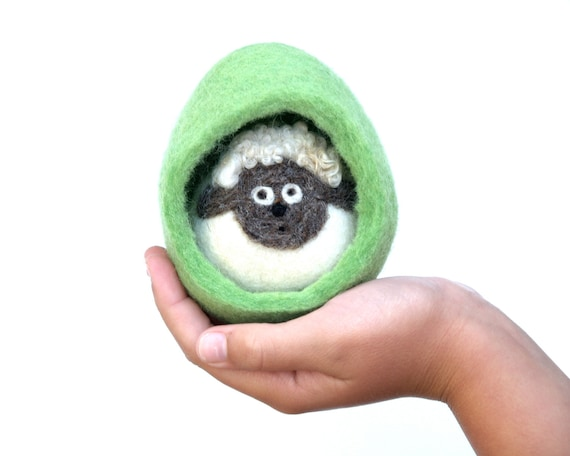 Lamb Waldorf Toy, Needle Felted Woollen Sheep toy for Children, Eco Frinedly Egg Fairyfolk - Green